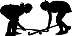 Silhouette of girl ladies hockey players locked in battle for ball Stock Illustration