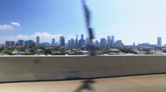 Driving on I-78 to Manhattan with New York Skyline in Distance Stock Footage