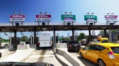 Driving Through New Jersey Turnpike Toll Plaza Headed to Manhattan Stock Footage