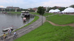 WYD Krakow 2016 - Big white domes at the edge of Vistula river - panoramic Stock Footage