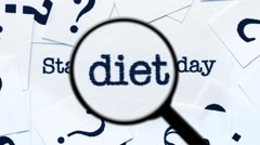Magnifying glass on start diet today Stock Footage