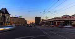 Lively street and part of Three Vokzal square ,time lapse Stock Footage