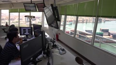Inside of the vessel traffic service center (Control Tower). 4K Stock Footage