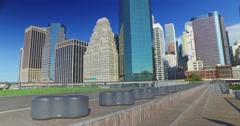 Pier 15 East River Esplanade Day Establishing Shot Stock Footage