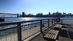 Brooklyn Skyline and Bridge as Seen from Pier 15 East River Esplanade Stock Footage