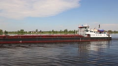 Dry cargo ship goes on the Volga river Stock Footage