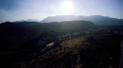 Aerial: Country Valley Overview LONG Rivers, Some Haze, farm lands Stock Footage