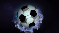 Soccer Ball in Blue Abstract Particles Ring, Loop, 4k Stock Footage