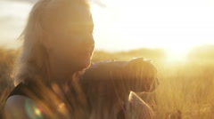 Girl with a British cat at sunset in cornfield Stock Footage