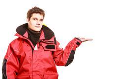 Adventurous man making gesture Stock Photos