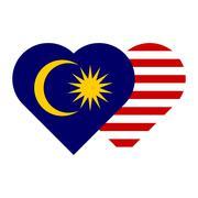 Malaysia flag - heart shape Stock Illustration