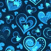 Jeans background with hearts. Vector Denim seamless pattern. Blue jeans fabric Stock Illustration
