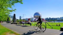 4K Vancouver Park, False Creek Park, Modern Dome Circular Urban Architecture Stock Footage