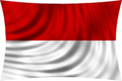 Flag of Indonesia, Monaco, Hesse (Germany) waving in wind isolated on white Stock Illustration