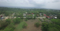 Aerial tracking of a hilltop road in San Andres, Colombia Stock Footage