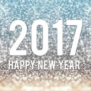 Happy new year 2017 in blue and gold sparkling glitter background Piirros