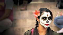 Hispanic woman using Skull Makeup, Mexico Stock Footage