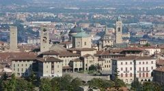 Bergamo - Old city (Città Alta). One of the beautiful city in Italy. Stock Footage