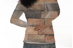 Woman feel pain in back Kuvituskuvat
