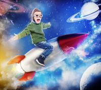 3D Rendering dreaming of flying in space Stock Photos