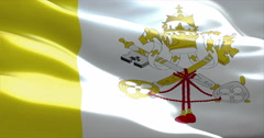 Waving fabric texture of the flag of vatican city Stock Footage
