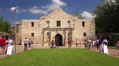 Tourists Visiting The Historic Alamo in San Antonio, Texas Stock Footage