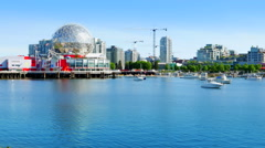 4K Vancouver BC False Creek Harbour Marina, Modern Architecture, Canada Stock Footage