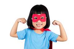 Asian Little Chinese Girl Wearing Super Hero Costume Kuvituskuvat