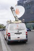 Van with satellite dish Stock Photos