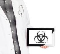 Doctor holding tablet - Warning! Biohazard! Stock Photos