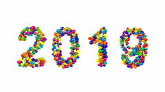 2019 New Year date in a colorful ball pattern Stock Footage