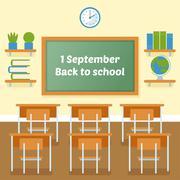 School classroom with chalkboard vector flat illustration. Stock Illustration