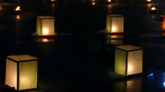 Paper lantern and candle light in Yeepeng festival Stock Footage