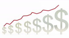 Graph rising with dollar sign bars Stock Footage
