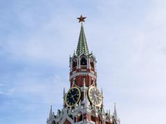 Chimes and Courant (huge clock) on the Spassky Tower of Kremlin Stock Photos