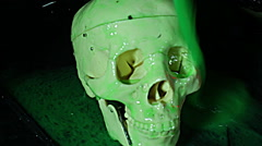 Skull covered in slime horror movie Stock Footage