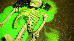 Skeleton with slime horror Stock Footage