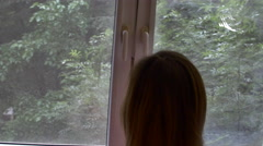 Young Woman Opening The Double Window Of Her Bedroom, Follow Shot Stock Footage
