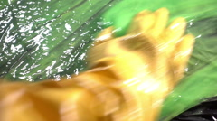 Cleaning off toxic substance weird Stock Footage