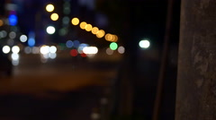 Rack Focus Over A Busy Street Late At Night In Bussines Center, Pan Stock Footage