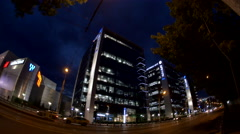 Light Traffic Late At Night In Front Of Bussines Center, Fish Eye Stock Footage
