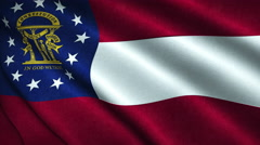 Georgia State Flag Flying in the Wind Looping 3D Animation Stock Footage