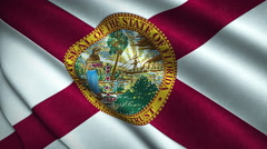 Florida State Flag Flying in the Wind Looping 3D Animation Stock Footage