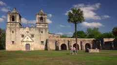 Two Tourists Visiting Mission Concepcion in San Antonio, Texas Stock Footage