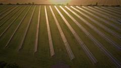 Solar battery farm aerial shot Stock Footage
