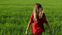 Happy woman enjoying nature blonde girl over sky and field. Freedom concept. Stock Footage