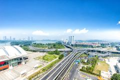 Road junction in suzhou in fine day Stock Photos