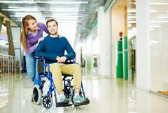 Handicapped Man in Shopping Centre Stock Photos