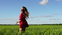 Happy woman enjoying nature beautiful blonde posing on field. Freedom concept. Stock Footage