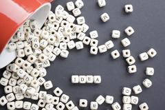 IDEA word formed by wood alphabet blocks. Wooden ABC Stock Photos